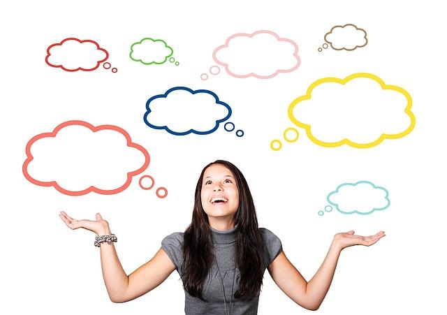 女性, 女の子, バルーン, 思考バブル, 思う, 思考, 思考プロセス, 考慮します, 顔