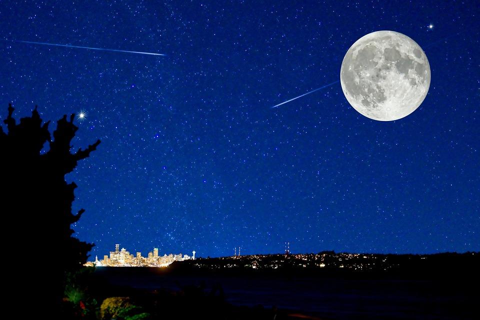 夜の花茎, 都市のスカイライン, 魔法の, 満月, 流れ星, 星, 泊, グロー, 青, シルエット, 市