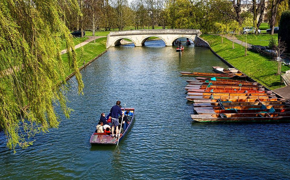 The Banks, Cambridge, Canal, River, Pole Boat, Outdoors