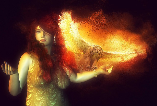 Free Illustration Fire Owl Woman Nature Bird Free