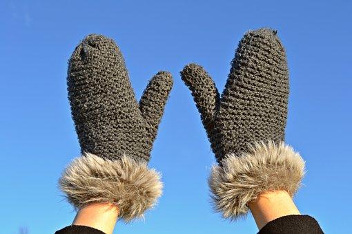 ミトン, 手袋, ニット, 飛び越し, 青い空, 冬, 冬の服, 手, 温かい手