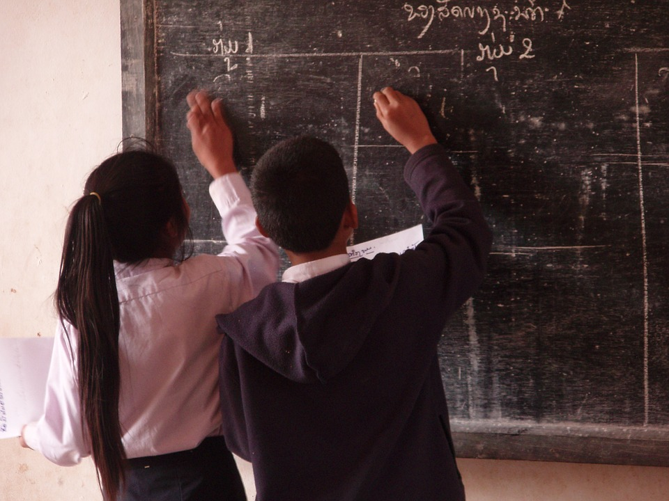 Estudiantes, Escuela Primaria, Aldea, Laos, Niños