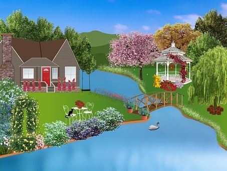 Cottage, Pergola, Flowers, River, Water