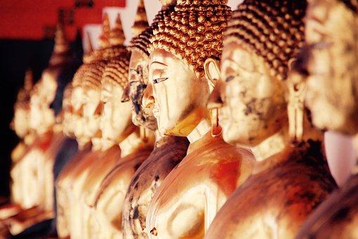 バンコク, 仏, 金, 瞑想, 仏教, タイ, アジア, テンプル