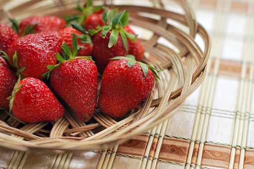 イチゴ, ベリー, 赤, ボウル, バスケット, 新鮮な, ナチュラル