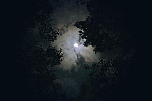 Mond, Wolke, Nachtsicht, Nacht, Himmel