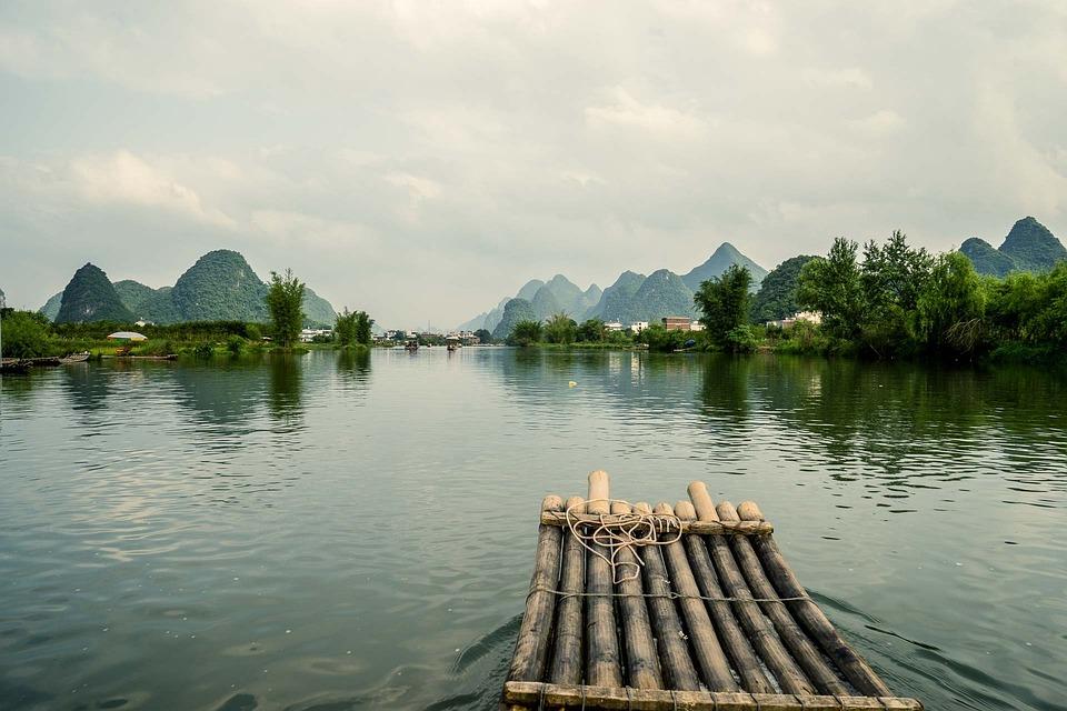 中国, 桂林, 旅行, アジア, 中国語, 広西, 川, 風景, 自然, 風光明媚な, 曇った, 田舎, 屋外