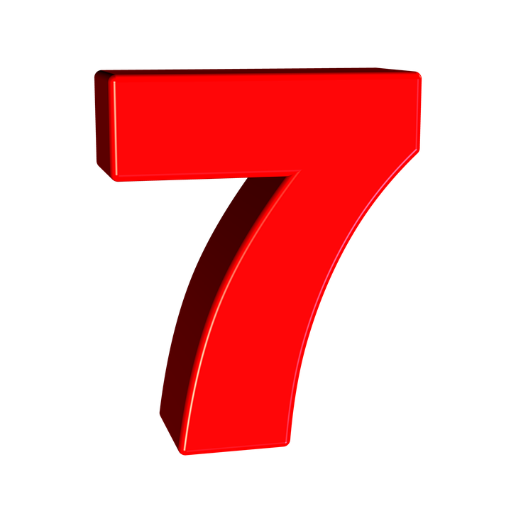 sieben zahl 7 ziffer schriften