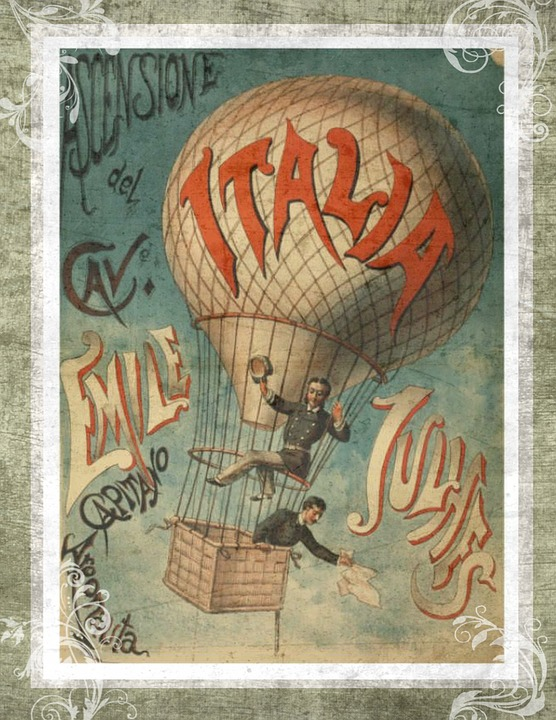 Free Illustration Vintage Hot Air Balloon Italy Free