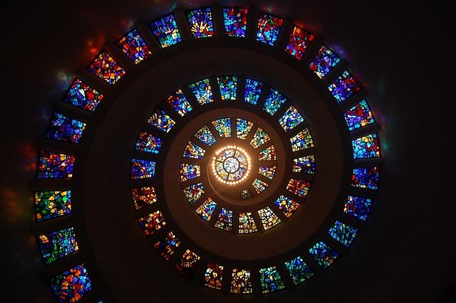 ステンド グラス, スパイラル, 円, パターン, ガラス, 宗教, ステンド グラスの窓, カラフルです