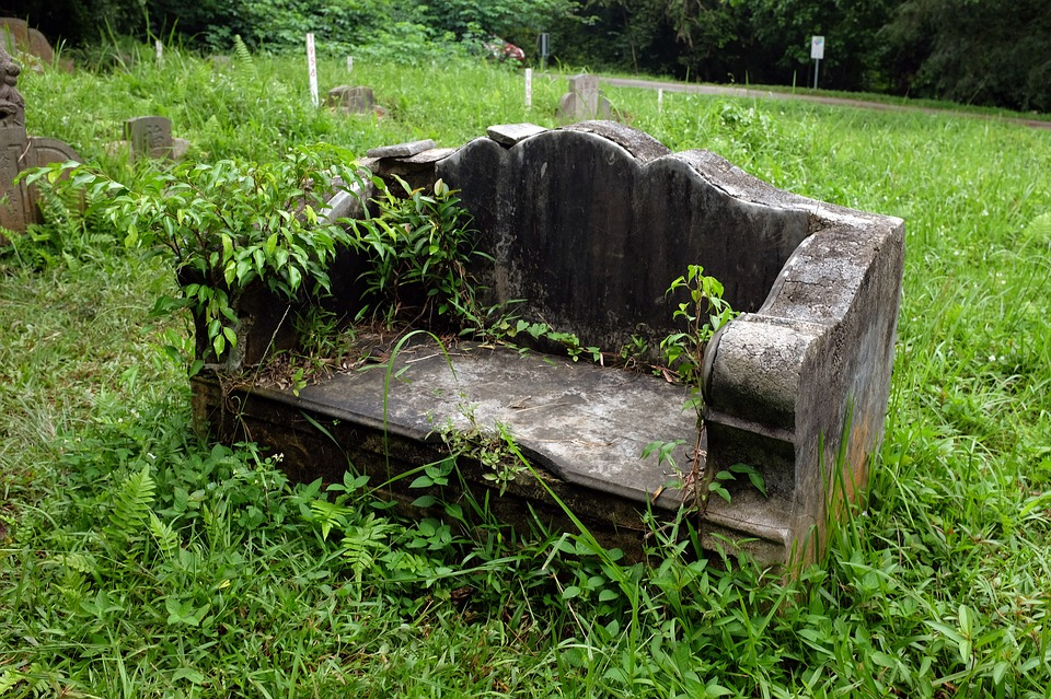 Free photo old stone bench abandoned cemetery free Cemetery benches