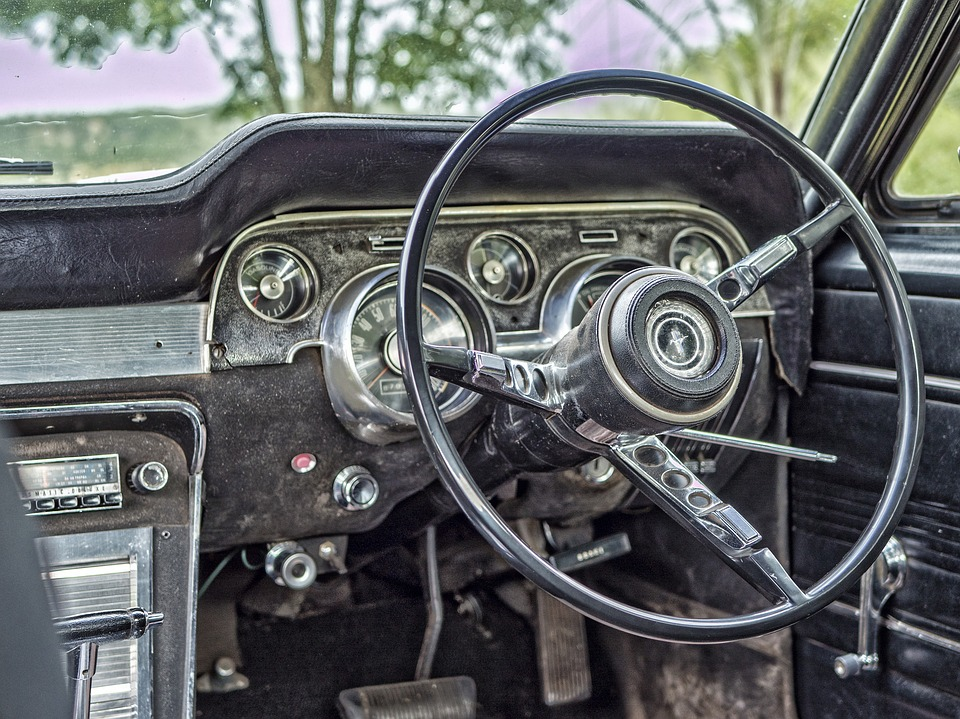 Free Photo: Old, Car, Steering, Wheel, Odometer