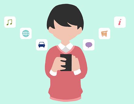 スマホ, アプリ, 日本人, メール, モバイル, スマートフォン, 買い物