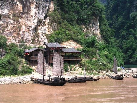 China, Yangtze, Stausee, Boote