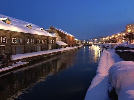 Jepang, Otaru, Salju, Hokkaido, Kanal
