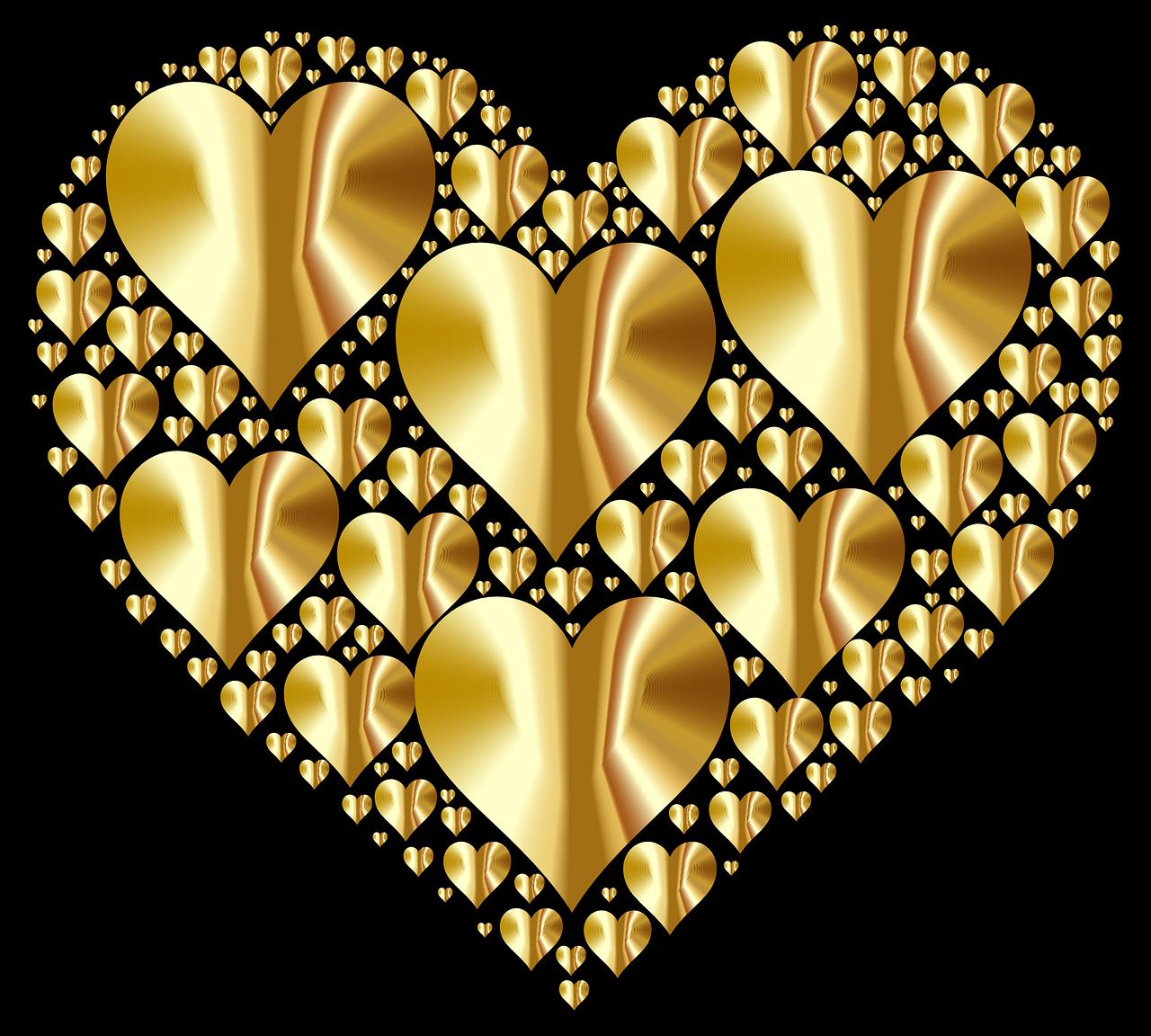 Гранж арт, открытка три сердечками