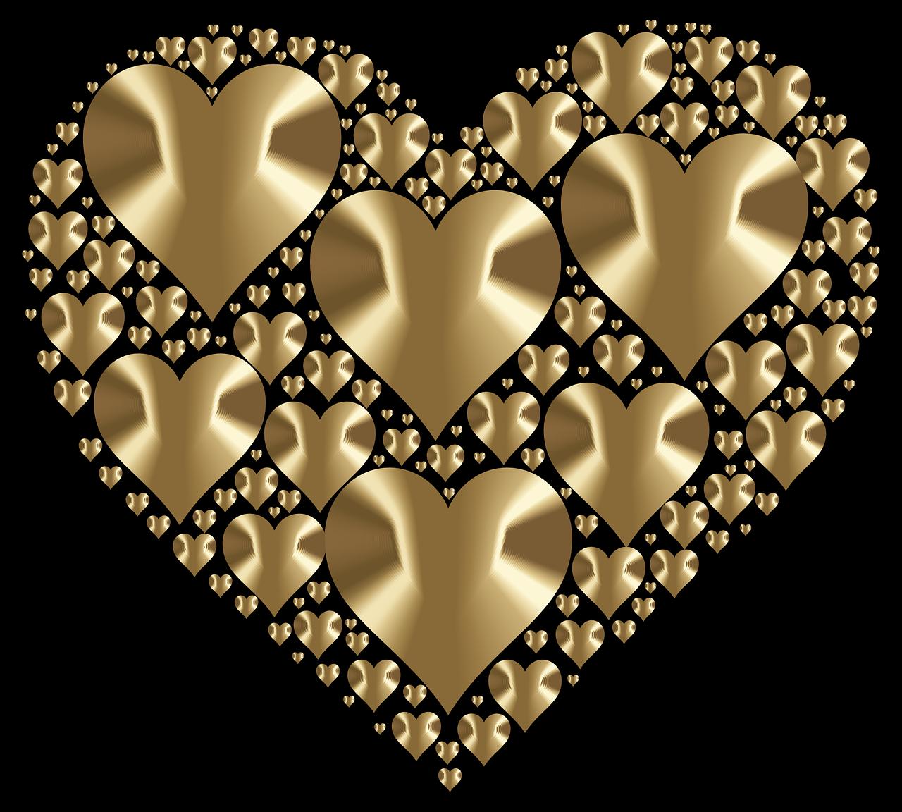 Картинки золотистые сердечки