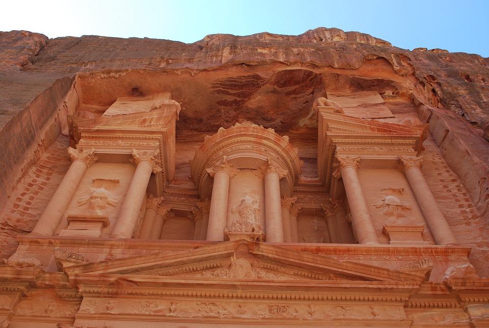 Poušť, Jordán, Petra, Blízký Východ, Kámen, Zřícenina