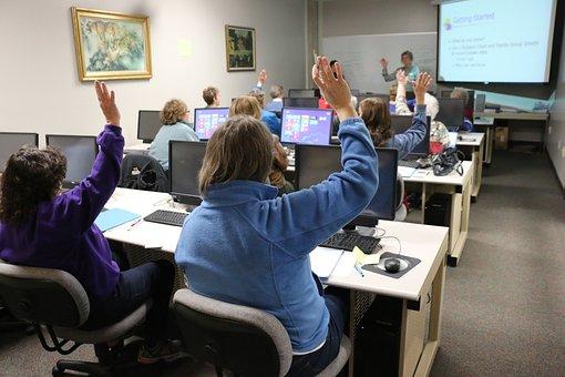 教室, コンピュータ, 技術, トレーニング, 同級生, コンピューター クラス