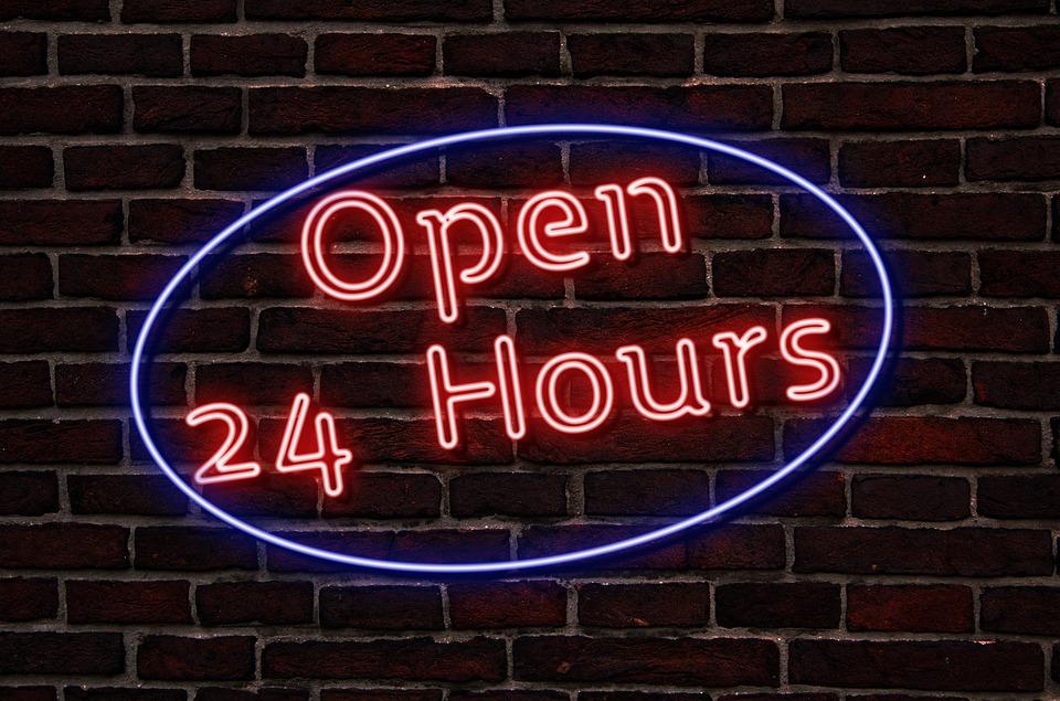 ネオン, ネオンサイン, テキスト、, オープン, 24 時間, ランプ, 効果