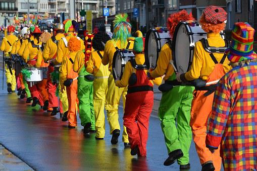 カーニバル, マスク, コスチューム, 人々, ドレスアップします, 行列, 色