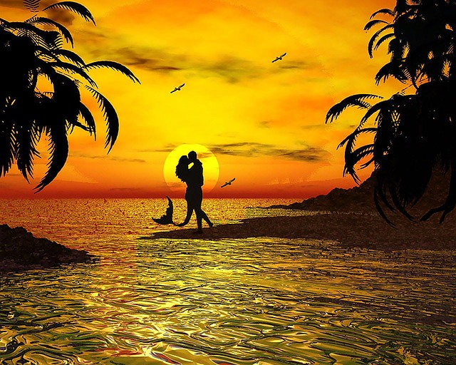 Free Illustration Kiss Ocean Sunset Beach Free Image