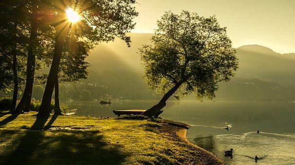 Landscape, Summer, Sunrise, Lighting