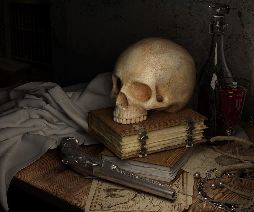 Crânio, Escuro, Pirata, Livro, Arma, Morte, Mortos