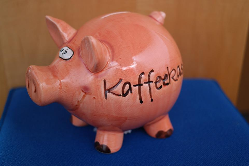 貯金箱, コーヒー チェック アウト, チェック アウト, 豚, 磁器置物, お金, 売り上げ高, 寄付する