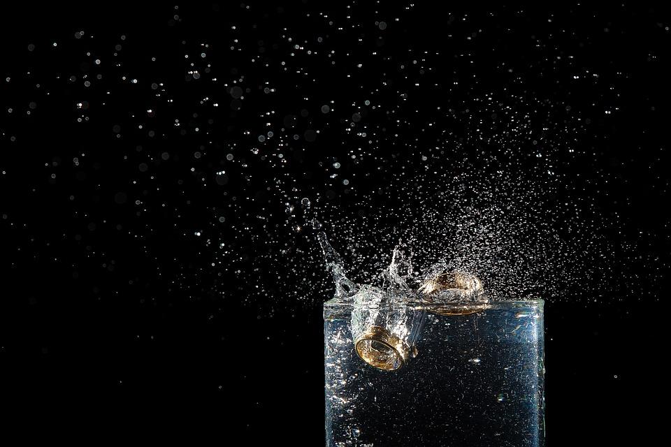 リング, スプラッシュ, 水没, 結婚, 水, 結婚指輪