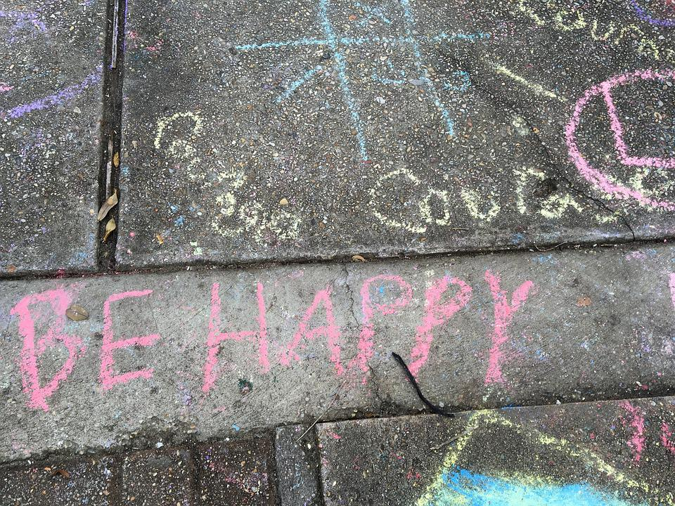 Happy, Courage, Chalk, Drawing, Handwriting