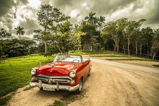 Cuba, Old Car, Forest, Red, Sepia