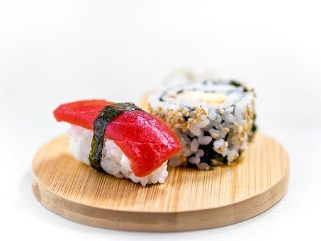 Sushi, Sashimi, Tuna, Sesame, Rice