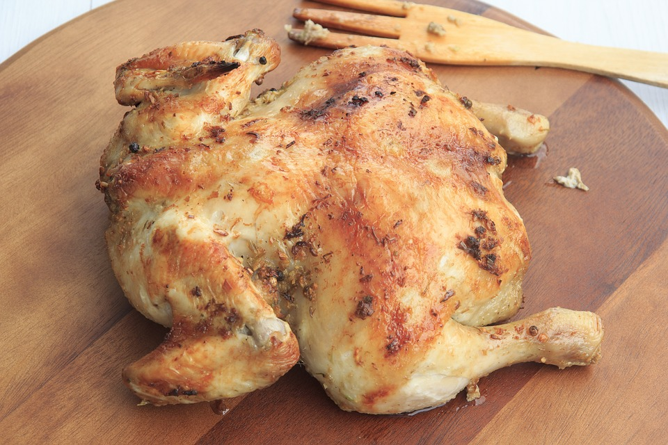 Chicken, Roasted, Whole, Grilled, Cooked, Dinner