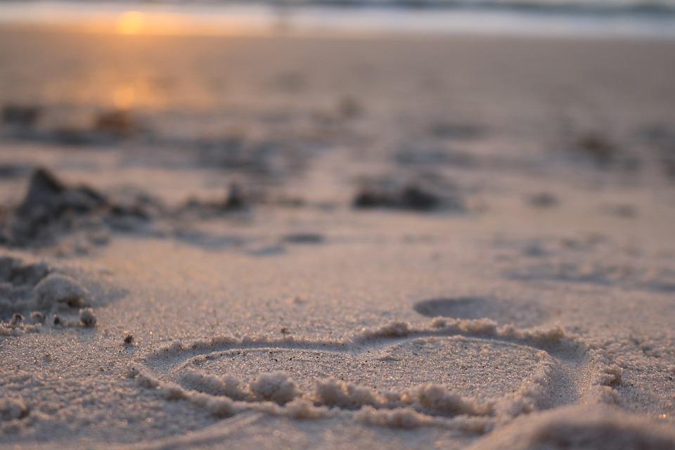 Heart Beach Sunset Love Summer Romance Romantic