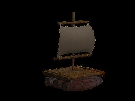 ボート, いかだ, 木製のいかだ, 帆, 孤立しました, 分離されました