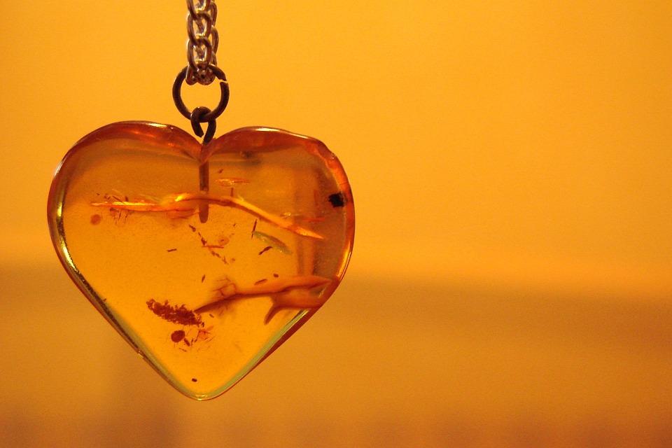 Heart, Amber, Pendant, Necklace, Orange, Jewelry