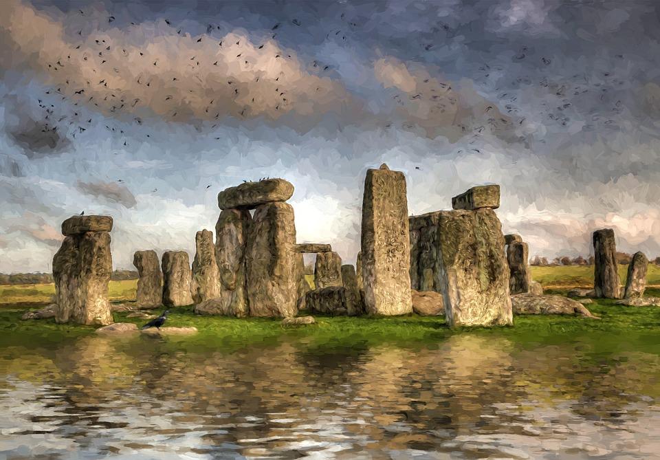 Angleterre, Stonehenge, Antique, Grande Bretagne