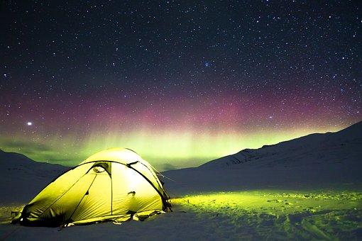 Nordlichter, Lager, Zelt, Abenteuer