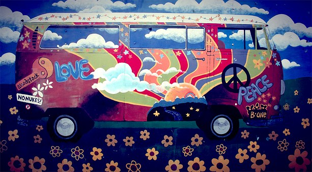 Hippie, Van, Vw Camper, Art, Love, Peace