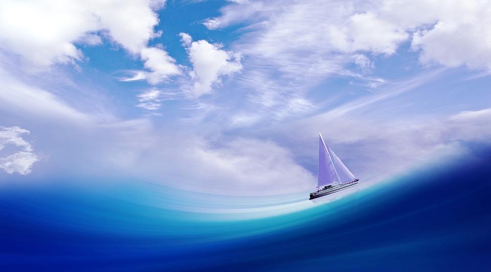 Fantasy, Illusion, Sailboat, Sea, Sky, Ocean, Clouds