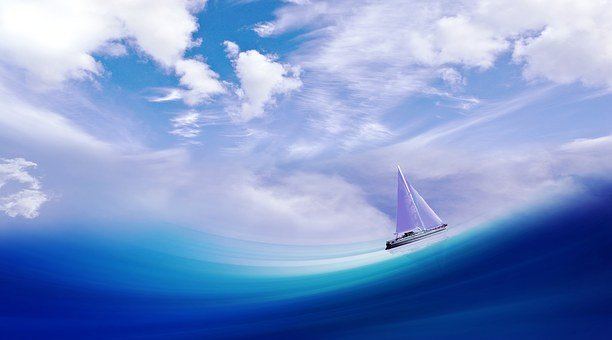 Ship Boat Wave Sea Water Sail Sky Clouds A
