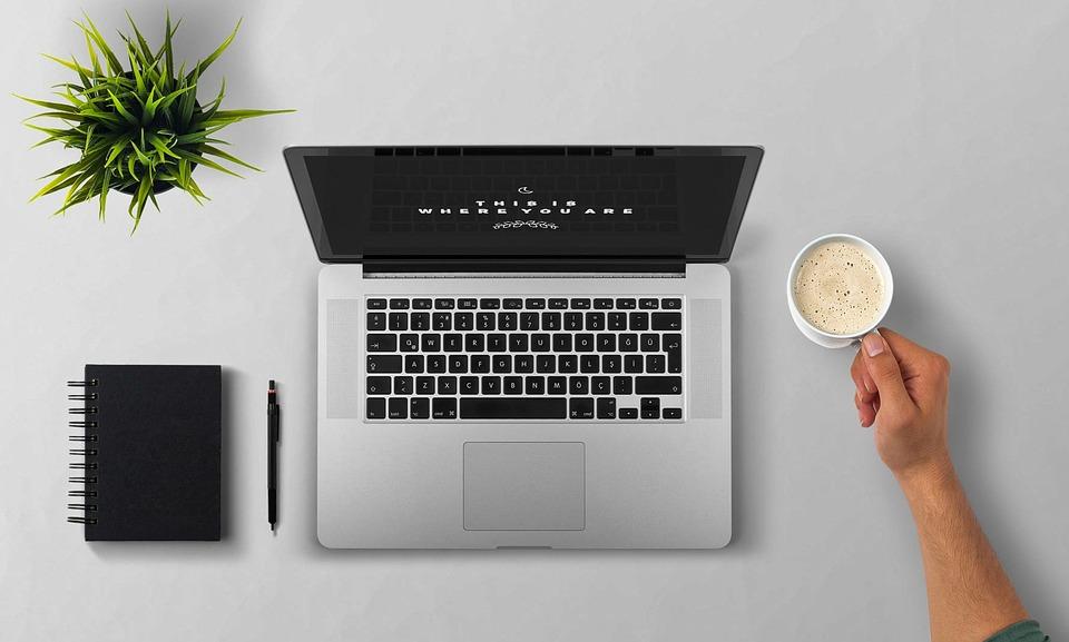 ラップトップ, コーヒー, アーム, デスクトップ, ノートブック, 書き込み, コンピュータ, 技術