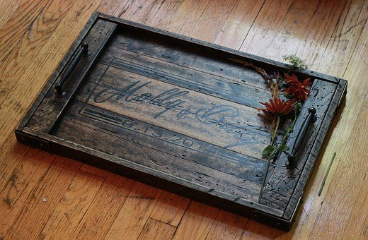 Tray, Wood, Metal, Rustic, Reclaimed