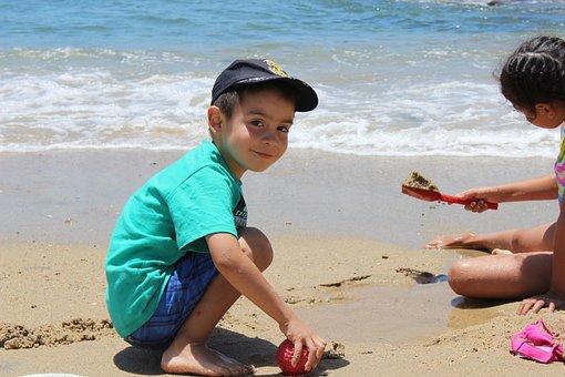 海滩, 儿童, 播放, 智利