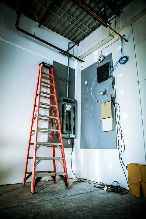Electrician, Electricity, Panel, Electric, Ladder