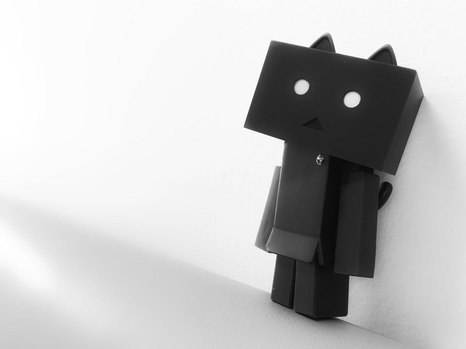 ダンボ, ニャンボ, フィギュア, 人形, モノクロ, 孤独感, ボックス, ただしボード, アニメ, 疎外