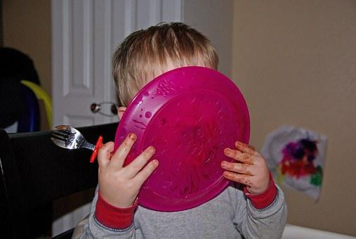 Child, Plate, Lick, Food, Kid, Home