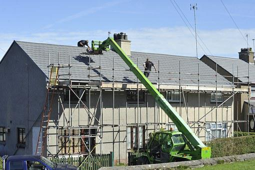 Scaffold, Roof, Tiles, Repair, Building