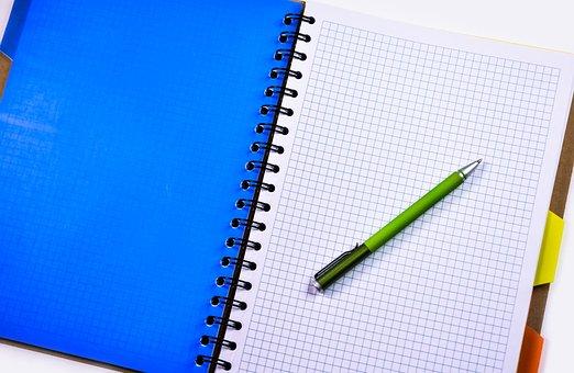 ノートブック, ペン, 鉛筆, 教育, オフィス, ビジネス, 書き込み, 紙